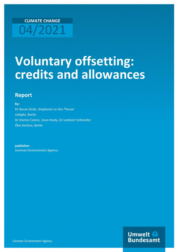 Cover of publication Climate Change 04/2021 Voluntary offsetting: credits and allowances
