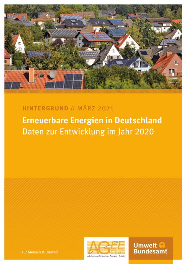"""Cover des Hintergrundpapiers von März 2021 """"Erneuerbare Energien in Deutschland: Daten zur Entwicklung im Jahr 2020"""""""