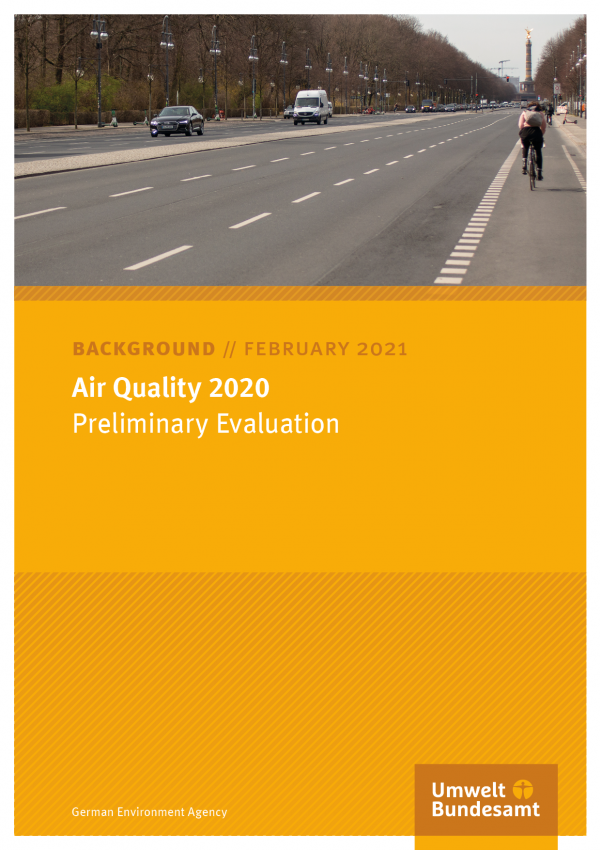 Cover of publication Background paper February 2021 Air quality 2020: Preliminary Evaluation
