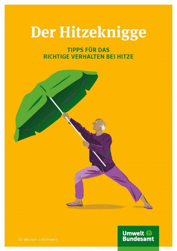 """Titelseite der Broschüre """"Der Hitzeknigge: Tipps für das richtige Verhalten bei Hitze"""""""