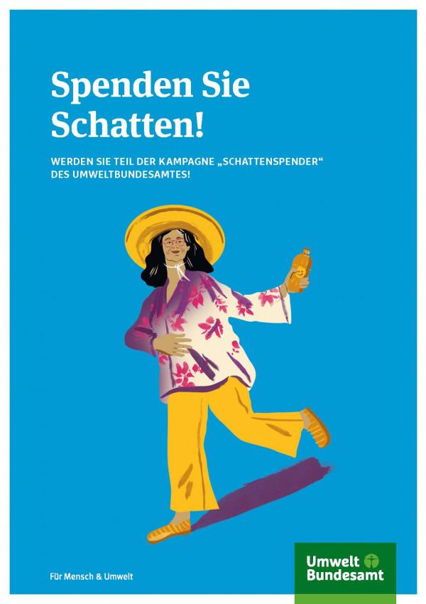 """Titelseite des Kampagnenleitfaden (Schattenspender) """"Spenden Sie Schatten! WERDEN SIE TEIL DER KAMPAGNE """"SCHATTENSPENDER"""" DES UMWELTBUNDESAMTES"""""""