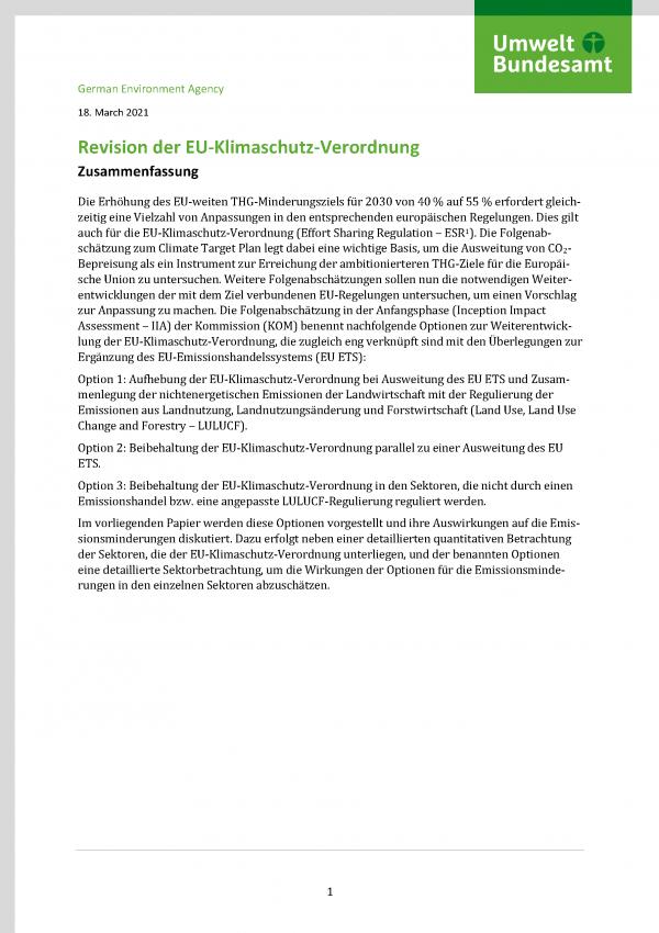 "Cover des Fact-Sheets ""Revision der EU-Klimaschutz-Verordnung"""