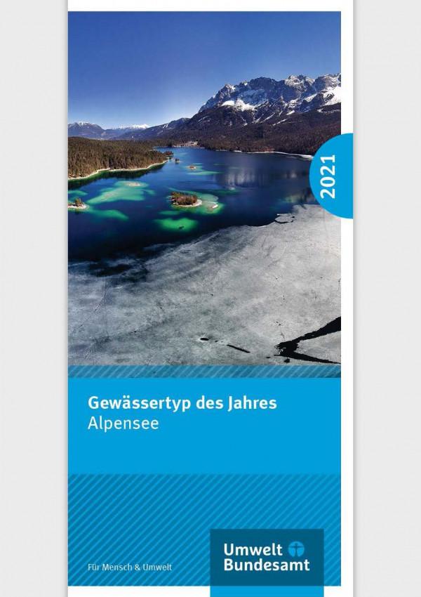 """Titelseite des Flyers """"Gewässertyp des Jahres 2021: Alpensee"""""""