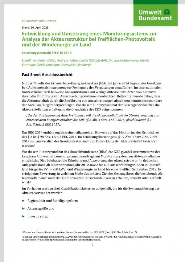 """Cover von Fact-Sheet zu dem Forschungsbericht """"Entwicklung und Umsetzung eines Monitoringsystems zur Analyse der Akteursstruktur"""""""