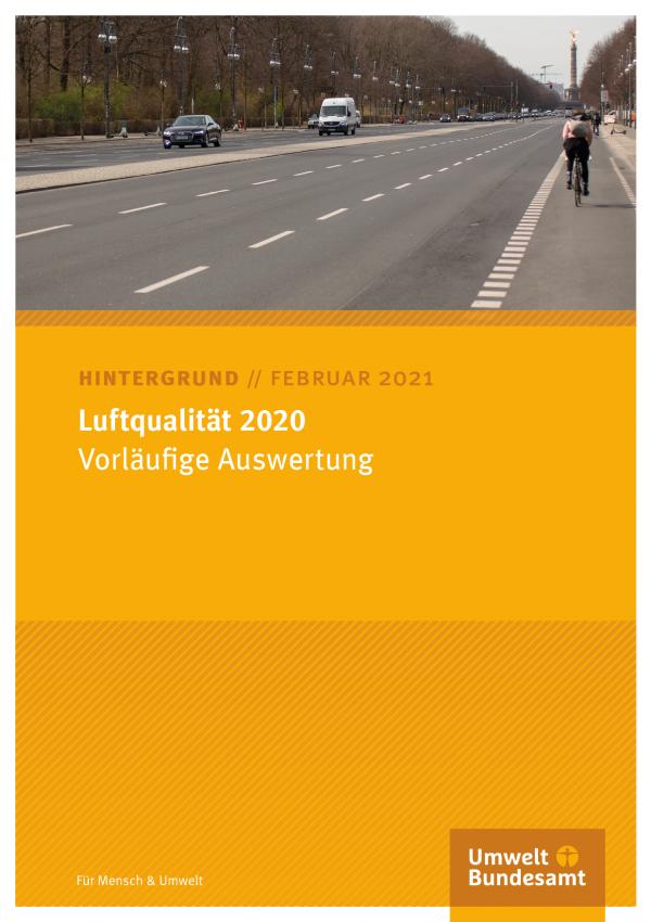 """Titelseite des Hintergrundpapieres Februar 2021 """"Luftqualität 2020: Vorläufige Auswertung"""""""