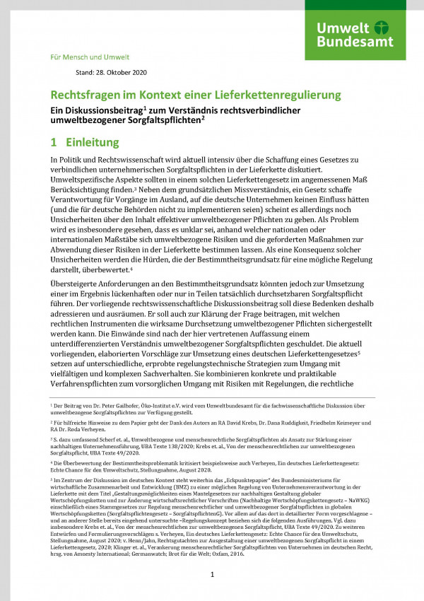 Cover des Fact-Sheet Rechtsfragen im Kontext einer Lieferkettenregulierung