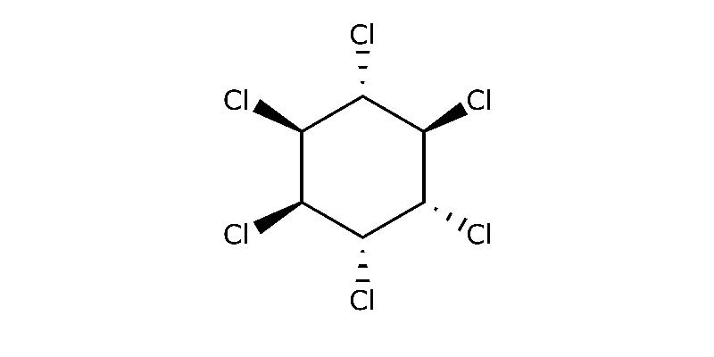 Strukturformel von Alpha-Hexachlorcyclohexan
