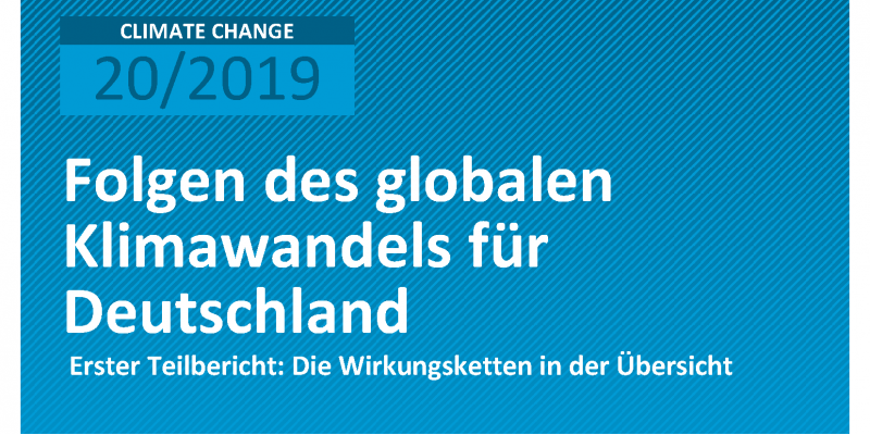 Cover der Publikation CLIMATE CHANGE 20/2019 Folgen des globalen Klimawandels für Deutschland
