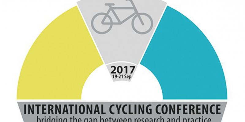 Das dreifarbige Logo der International Cycling Conference 2017 zeigt ein Fahrrad und darunter den Titel der Konferenz als Schriftzug