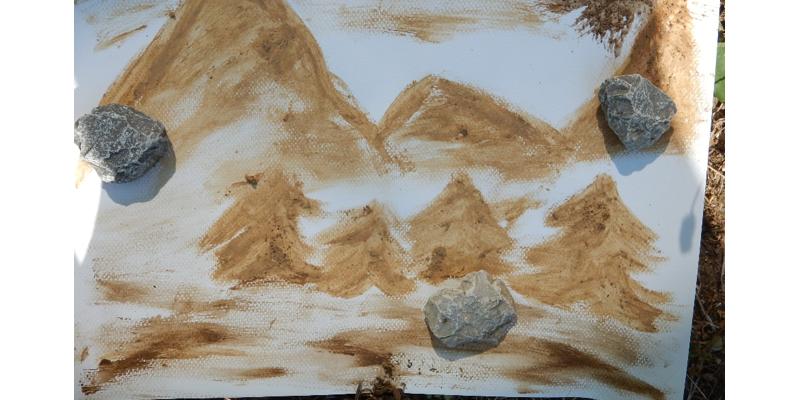 Ein spontanes Bildmotiv aus den soeben gewonnenen Bodenfarben!