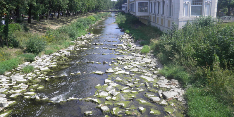 Foto: Eine fischdurchgängige Rampe in Riegelbauweise. Zahlreiche Steinblöcke sichern die Gewässersohle, ohne die Durchgängigkeit zu beeinträchtigen.