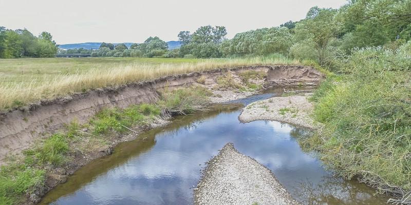 Foto: Seitlicher Blick auf ca. 2 m hohes Abbruchufer. Im Gewässerbett haben sich zwei Kiesbänke gebildet. Landseitig schließt Grünland unmittelbar an das Ufer der Fulda an.