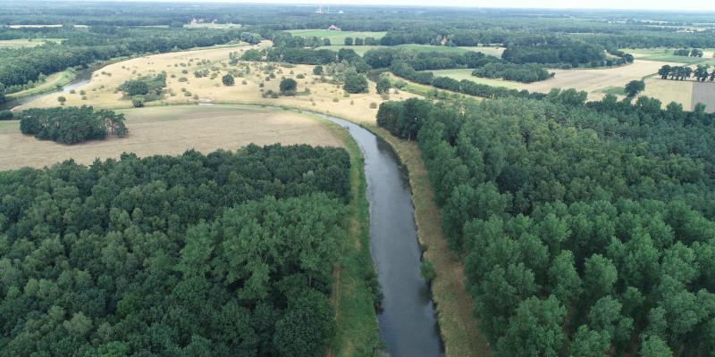 Luftbild des Hasetals mit Wald- und Grünlandflächen.