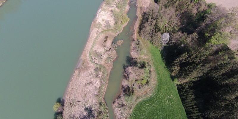 Luftbild des Inns mit Altwasserarm bei Thalham.