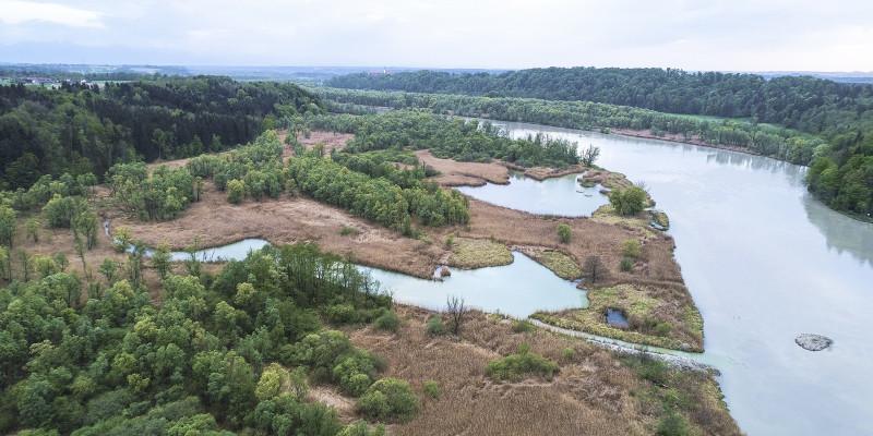 Luftbild der renaturierten Freihammer Au am Inn. Das Nebengewässer reicht bis tief in die Aue hinein.