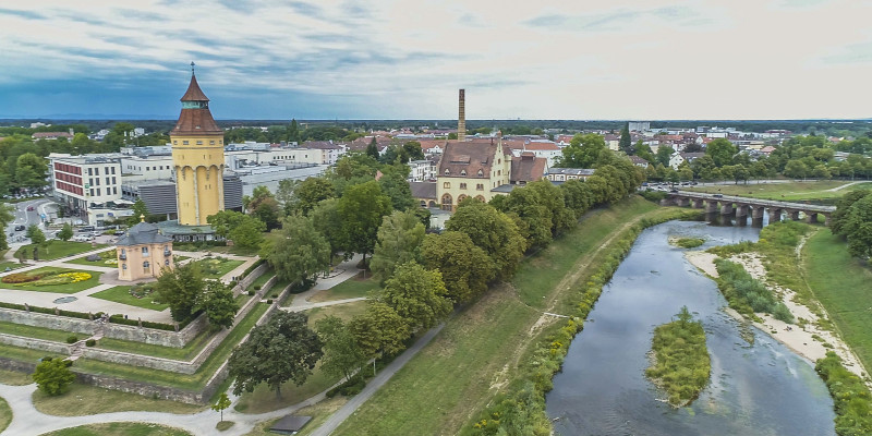 Aerial view of the restored Murg in the urban area of Rastatt near a bridge (Franzbruecke).