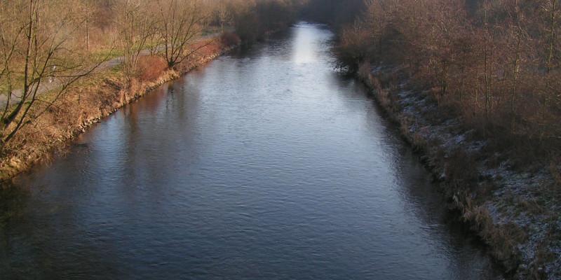 Foto: Die begradigte Ruhr ohne besondere Strukturen. Am Gewässer sind Bäume zu sehen. Ein Rad- und Fußweg verläuft direkt am Ufer.