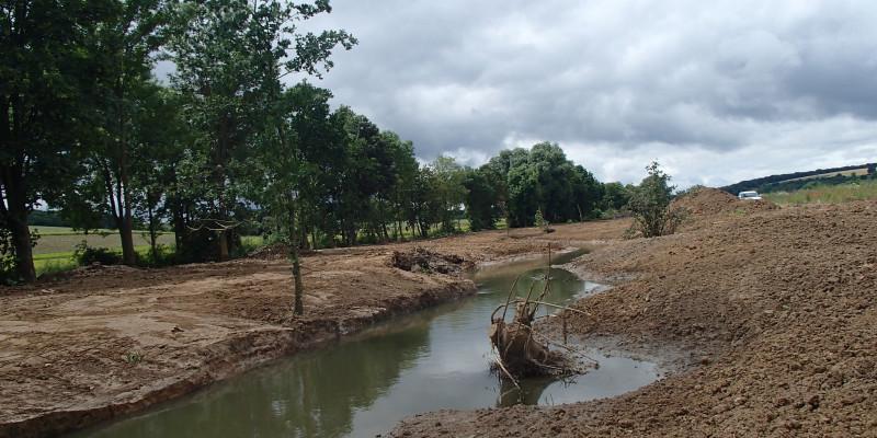 Foto: Die Wern mit deutlichen Spuren der kurz zuvor beendeten Baumaßnahmen. Die Ufer bestehen noch aus offenem Boden und sind frei von Vegetation. Im Gewässer liegt ein in die Sohle eingebauter Wurzelstock.