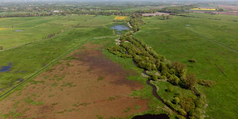 Luftbild des Entwicklungskorridors der Wümme mit Sträuchern und Bäumen im Uferbereich, der sich deutlich vom benachbarten Grünland und Acker abgrenzt und weit durch die Landschaft zieht.
