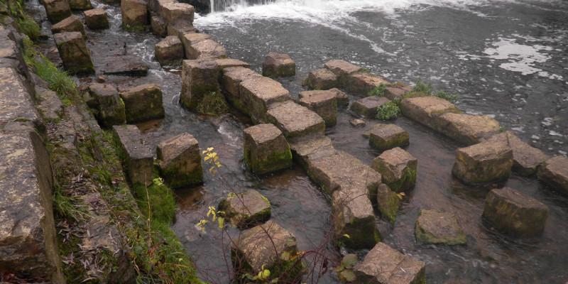 Foto: Eine Wanderhilfe für Fische aus Steinen, die versetzt in das Gewässer eingebracht sind
