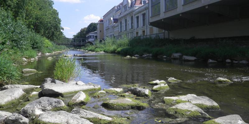 Foto: Ein renaturierter Flussabschnitt mit geradem Flusslauf wird über größere Steine und Blöcke strukturreicher und naturnäher gestaltet.