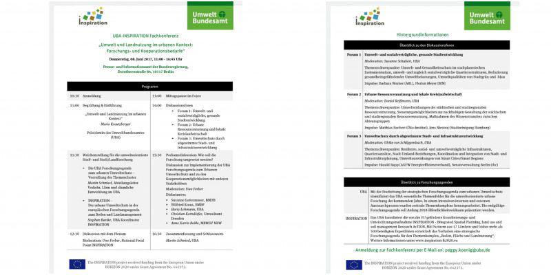 Agenda UBA-INSPIRATION Fachkonferenz