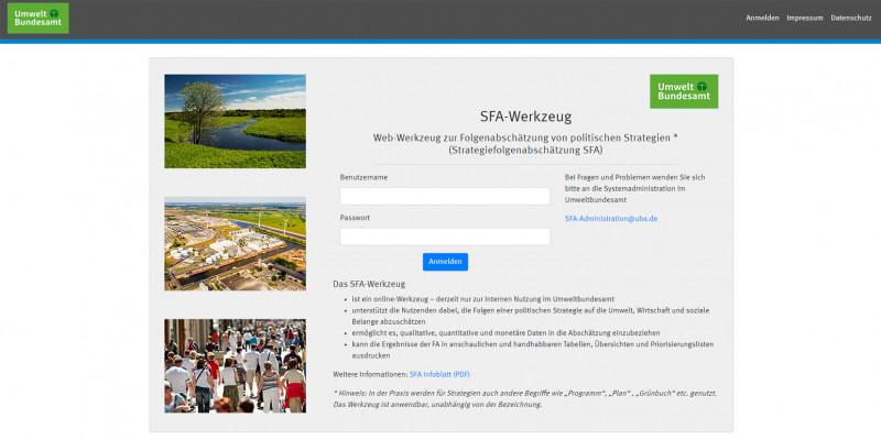 Startseite SFA-Tool