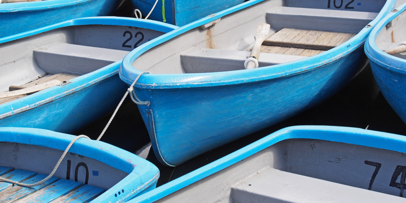 blue rowboats