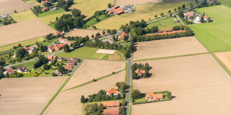 Aerial view of a small town