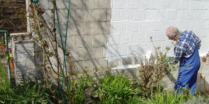 Ein Mann streicht eine Wand mit Schutzmitteln