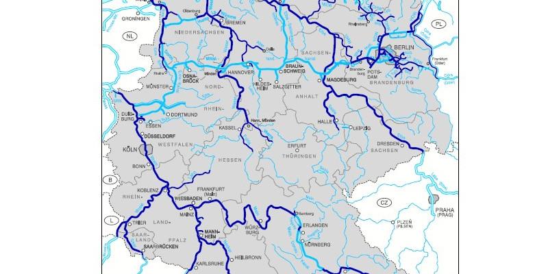 Die Abbildung zeigt die Bundeswasserstraßen und Auen, die Teil der BBD-Kulisse sind