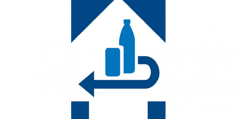 Produktkennzeichnung für bepfandete Einweg-Getränkeverpackungen: Piktogramm einer Flasche und einer Dose und ein Pfeil, der die Rücknahme symbolisiert