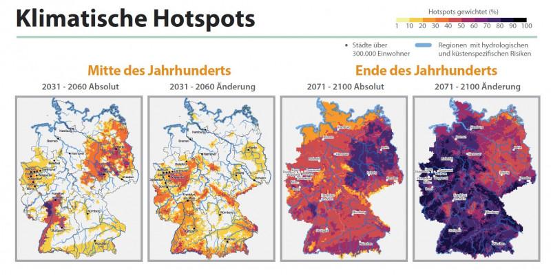 Deutschlandkarte mit eingezeichneten Klimahotspots