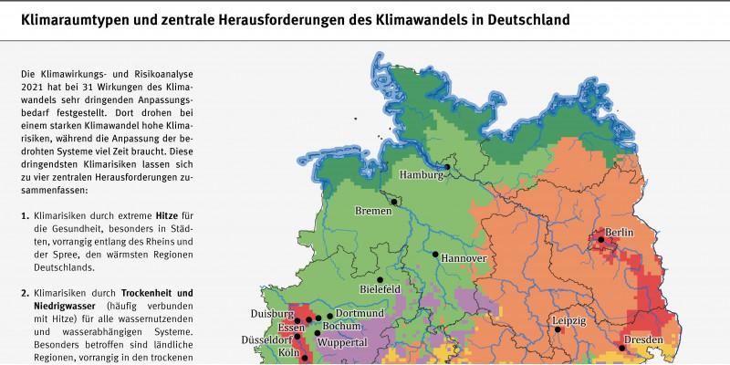 eine Deutschlandkarte zeigt die Klimaraumtypen