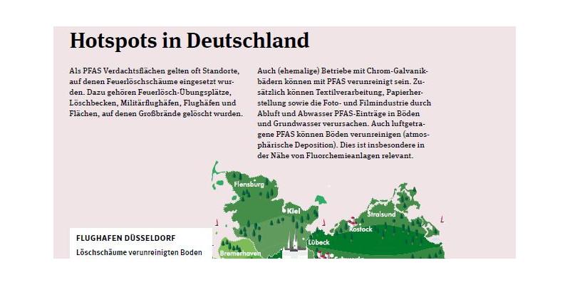 Karte mit den PFAS-Hotspots.