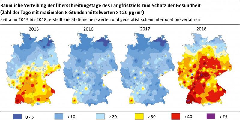 Eine Karte von D mit Grafiken zu Ozon