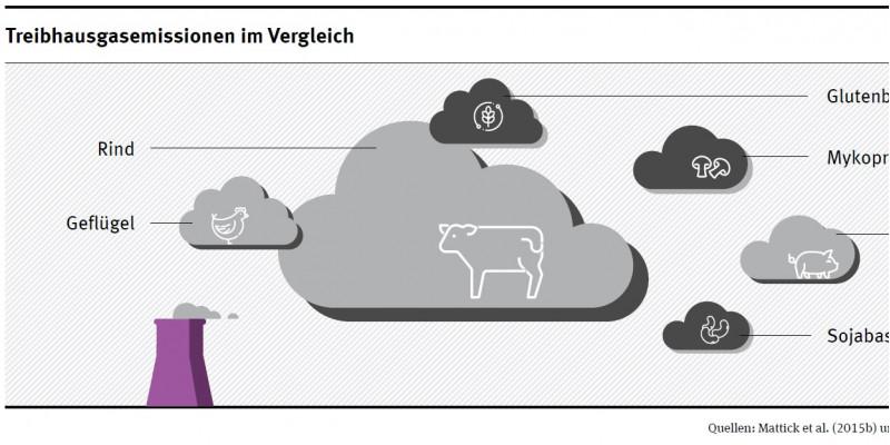 Wolkengrafik Treibhausgasemissionen pflanzlicher Fleischersatzstoffe im Vergleich