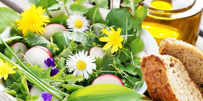 Dekorativer Wildkräutersalat mit zwei Scheiben Brot und einer Flasche Öl auf einem Tisch
