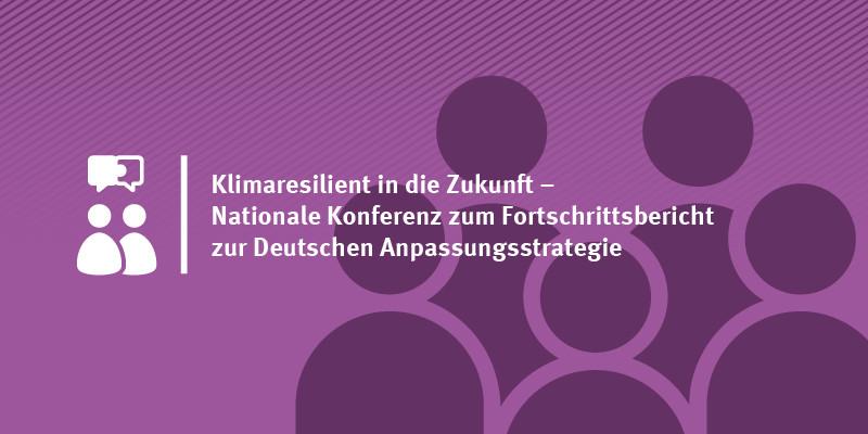 """Grafik mit dem Text """"Klimaresilient in die Zukunft – Nationale Konferenz zum Fortschrittsbericht zur Deutschen Anpassungsstrategie und Verleihung des Preises """"Blauer Kompass"""""""""""