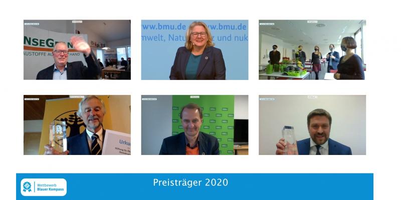 Ein Screenshot mit Bundesumweltministerin Schulze, UBA Präsident Messner und den vier Gewinnern