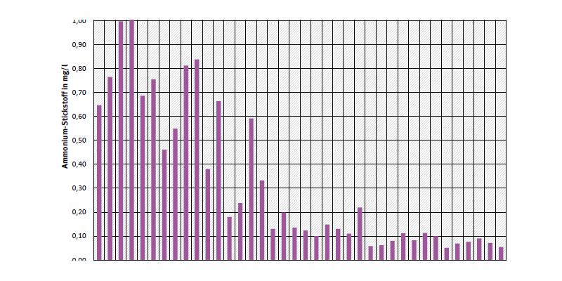 Jahresdurchschnittskonzentration von Ammonium-Stickstoff an Messstelle Hohenwutzen an der Oder