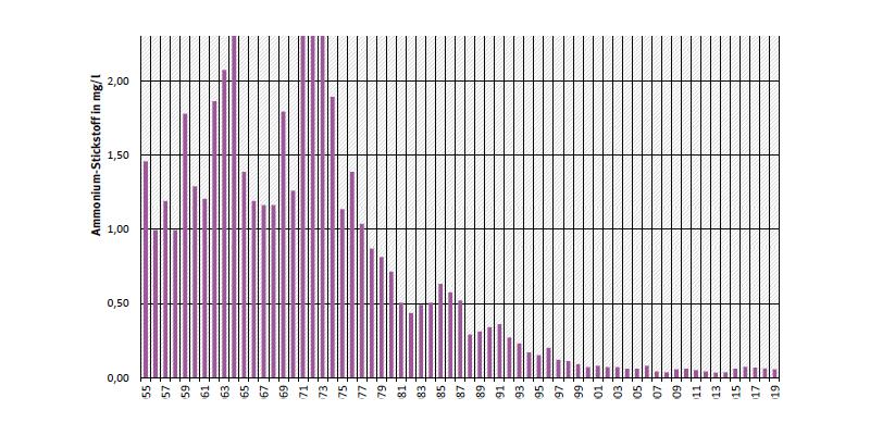 Jahresmittelwerte zeigen, dass 1955 bis 1975 die mittleren Konzentrationen des Ammoniums von 1 auf etwa 2,5 mg Stickstoff pro Liter (N/l) zunächst stark anstiegen. Seit Mitte der 1970er Jahren sind sie rückläufig und liegen derzeit bei 0,035 mg N/l.