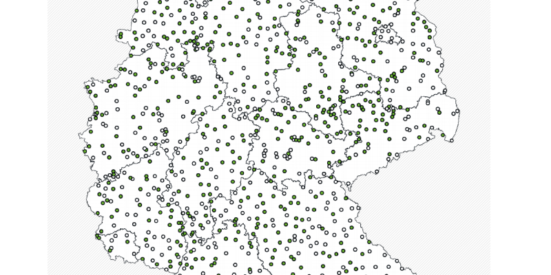 Eine Übersicht über die Messstellen des EUA-Messnetzes und des EU-Nitratmessnetzes (Teilmessnetz Landwirtschaft) enthält diese Karte.