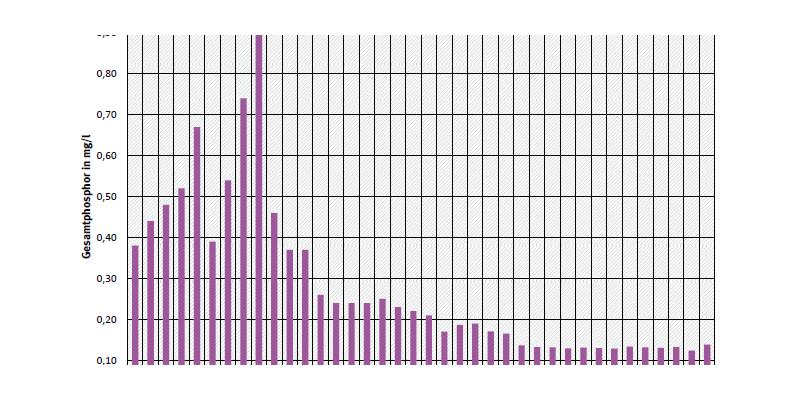 Jahresdurchschnittskonzentration von Gesamtphosphor an Messstelle Schnackenburg an der Elbe