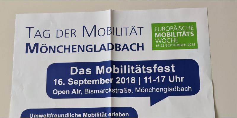 Poster zum Mobilitätsfest während der EMW in Mönchengladbach (mit vielen Unterstützern)