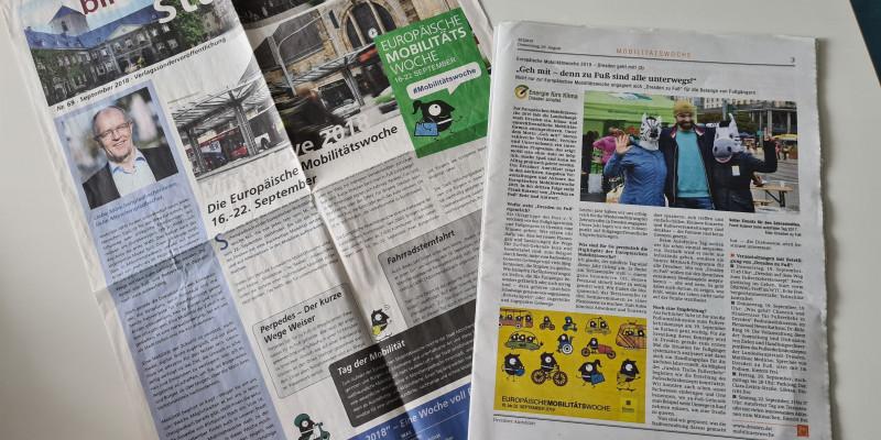 Städtische Zeitungen berichten über die EMW: Mönchengladbach und Dresden