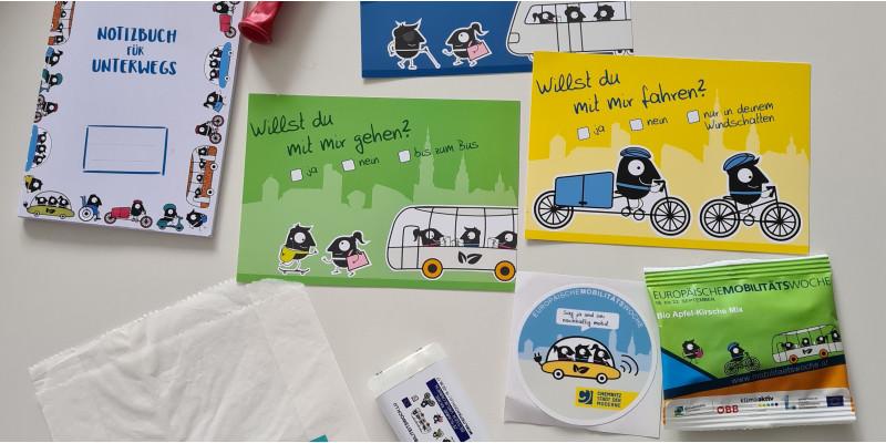 mögliche EMW-Werbemittel: Notizblock, Brottüten, Postkarten, Snacks, Aufkleber...