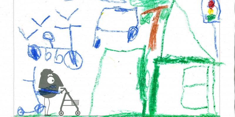 Fünfjähriges Kind nutzt EMW-Malvorlage und malt seine Traumstadt