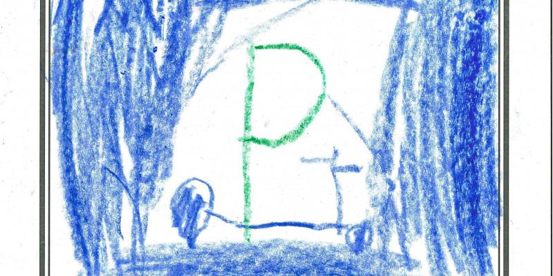 Kind malt Straßenschild nach seinen Vorstellungen
