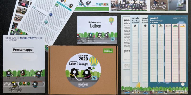 Alle Inhalte der EMW-BOX 2020, wie Brötchentüten, Plakate, Anleitungen, Pressemappe und Ausmalbilder auf einen Blick